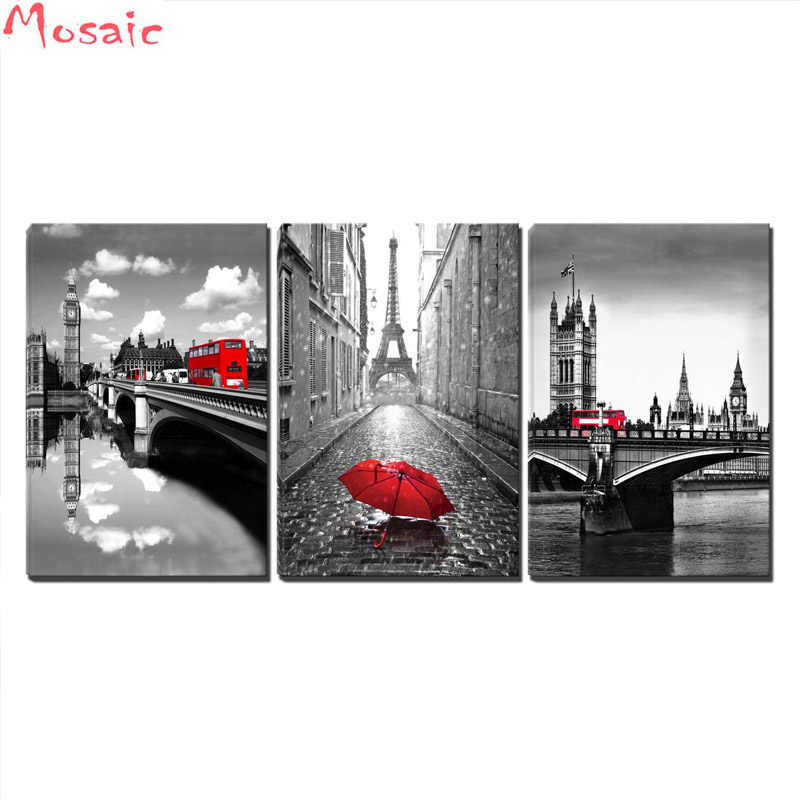 diy 5d diamond painting cross stitch 3 Pcs Black and White Paris Tower with Red Umbrella London's Big Ben Clock with Red Bus
