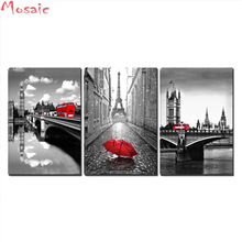 diy 5d diamond painting cross stitch 3 Pcs Black and White Paris Tower with Red Umbrella Londons Big Ben Clock Bus