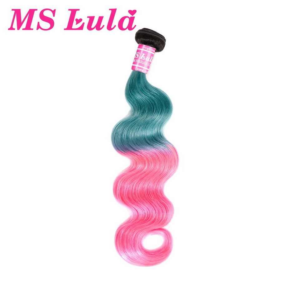 Ms lula бразильские тела волна 3 Связки с 4x4 закрытия Омбре розовые и синие Реми человеческие волосы плетение бесплатная часть закрытия волос расширение