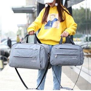 Image 5 - Bagaj seyahat çantaları su geçirmez tuval erkekler kadınlar büyük çanta jantlar adam omuz duffel çanta siyah gri mavi üzerinde taşımak kabin bagaj