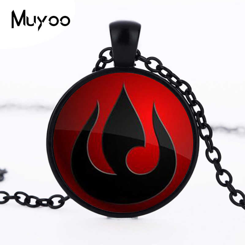 Avatar The Last Airbender Necklace Legend of Korra Fire Nation Glass Pendant Jewelry Pendant chain womens steampunk necklace HZ1