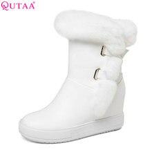 QUTAA 2018 Women Mid Calf Boots Winter Shoes Zipper Design Fashion Wedges Heel Round Toe Casual Black Women Boots Size 34-40