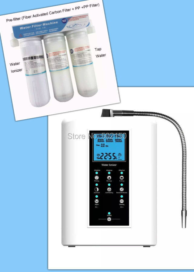 OH-806-3W portable water filter alkaline machine (110V) with one PH tester white color inner carbon filter for alkaline water ionizer machine oh 806