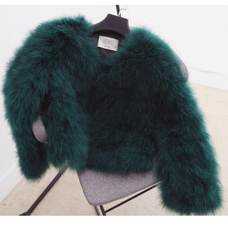 100% vestes de fourrure de fièvre de plume moelleuse faites à la main tricoté véritable manteau de fourrure d'autruche femmes vente au détail en gros gris fourrure moelleuse fièvre - 6