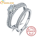 BONLAVIE Infinity Simulated Diamond Anniversary Promise Wedding Band Engagement Ring Bridal Set 925 Sterling Silver Jewelry