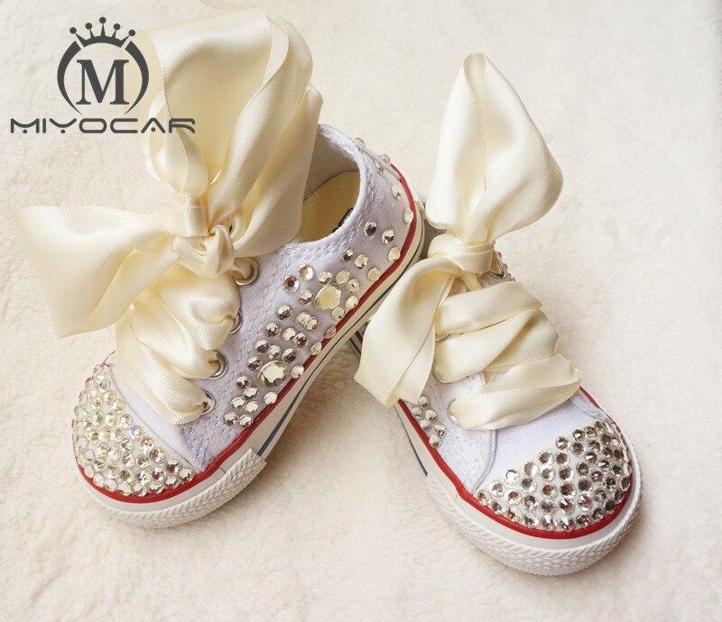 MIYOCAR personnalisé superbe strass coloré cristal bébé enfants chaussures de sport à la main Bling diamant chaussures comme exigence