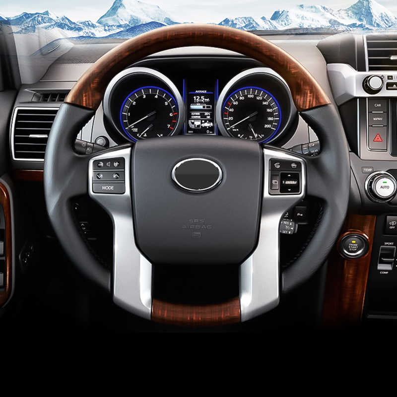 For Toyota Land Cruiser 150 Prado LC150 FJ150 2010-2018 Interior Steering  Wheel Cover Trim Chrome Car Styling Accessories