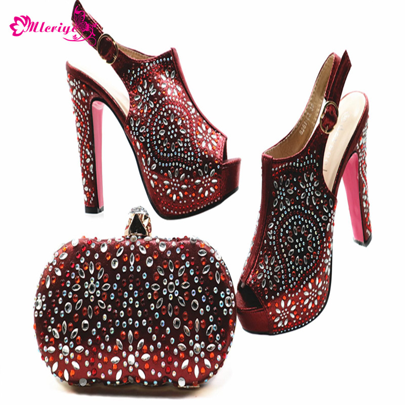 New Arrival Ladies Italian Shoes and Bag Set Decorated with Rhinestone Nigerian Women Wedding Shoes with Bag Set Elegant Pumps elegant rhinestone bird decorated bracelet with ring for women