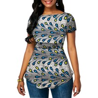 Women dashiki tops festival Ankara outfit design short sleeve African print shirts for party/wedding customized