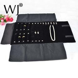 مجموعة عرض المجوهرات المحمولة باللون الأسود المخملي حقيبة منظم للسفر قابلة للطي لحلقة أقراط وسلسلة تخزين القلادة والقلائد