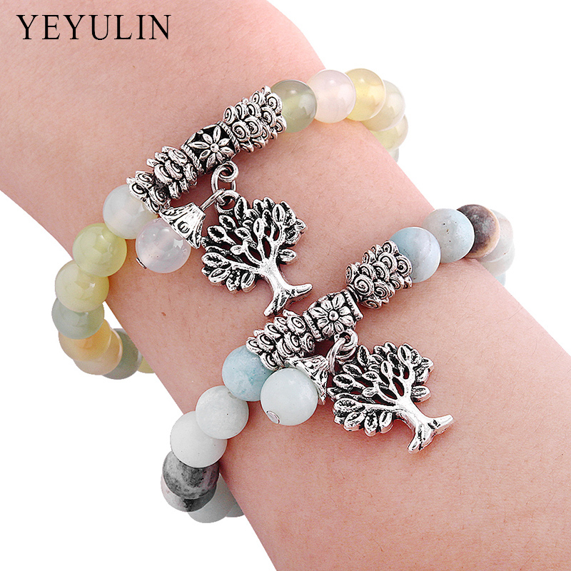 New Silver Alloy Tree Of Life Charm Natural Colorful Stone Bead Bracelet Yoga Mala Prayer Rosary Bangle Jewelry For Woman