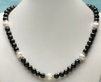 jewerly 8 9mm+9 10mm AAA SOUTH SEA White black Pearl Necklace 18inch