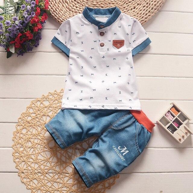 Letni Zestaw dla Noworodka Chłopca Koszula z krótkim rękawem + spodenki jeansowe