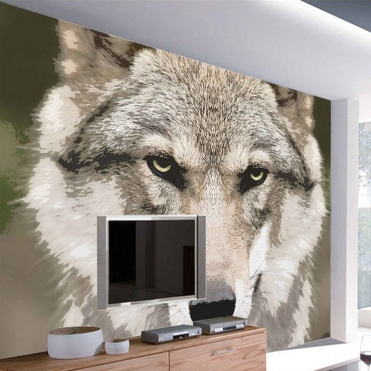 8D Papel Wolf Animal Murals 3d Animal Wallpaper Mural for Living Room Background 3d Wall Photo Murals Wall paper 3d Stickers custom 3d photo wallpaper mural nordic cartoon animals forests 3d background murals wall paper for chirdlen s room wall paper