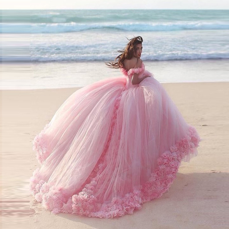 2016 Berydress Fashion Navy Pink Hand made Flower Vestidos De Novia big long tail Lace up Tulle Wedding Brides Ball Gown in Wedding Dresses from Weddings Events