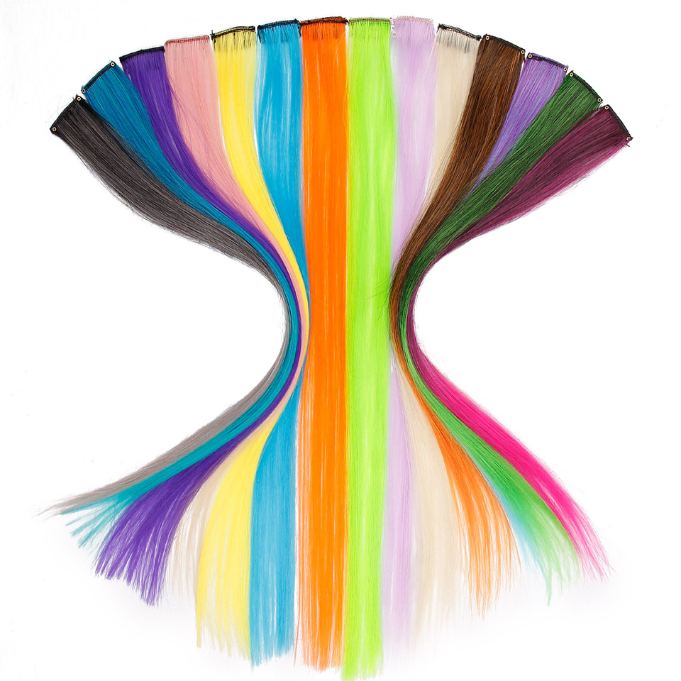 50cm Rainbow Colors Single Clip In One Piece Hair Extensions Synthetic Long Straight Ombre Grey Blonde Red Hairpieces For Women