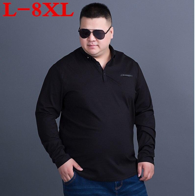 Grande taille 7XL 8XL 9XL 10XL printemps et automne argent classique mode décontracté Slim couleur unie revers à manches longues t-shirt