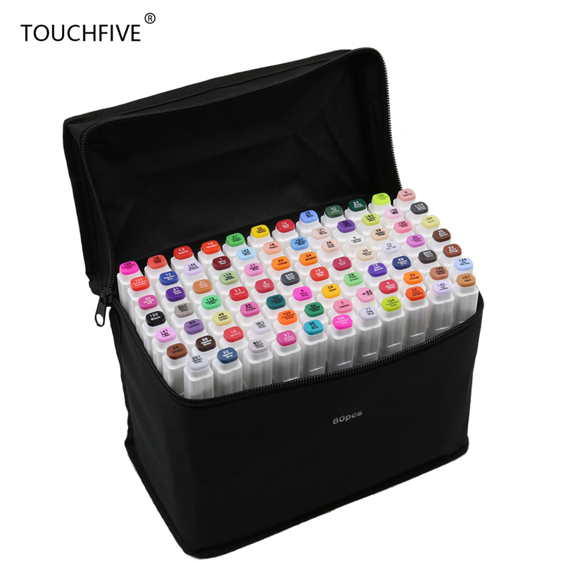 Touchfive 30/40/60/80 Colors Art Marker Set Dual Head Alcohol Based Sketch Marker Pen For Drawing Manga Design Art Set Supplies sketch marker pen 218 colors dual head sketch markers set for school student drawing posters design art supplies