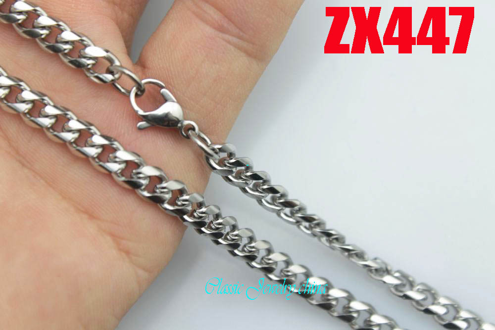 5mm rounded corners Curb Cuban chain stainless steel necklace fashion men's women jewelry chains 20pcs ZX447