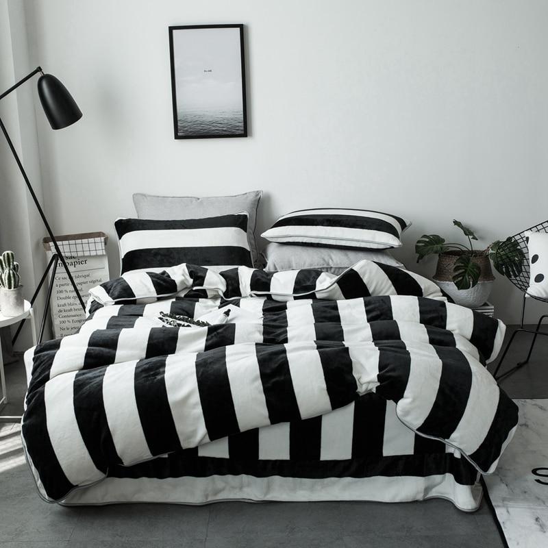 Ivarose Black White Stripe Thick Fleece Fabric Queen Size