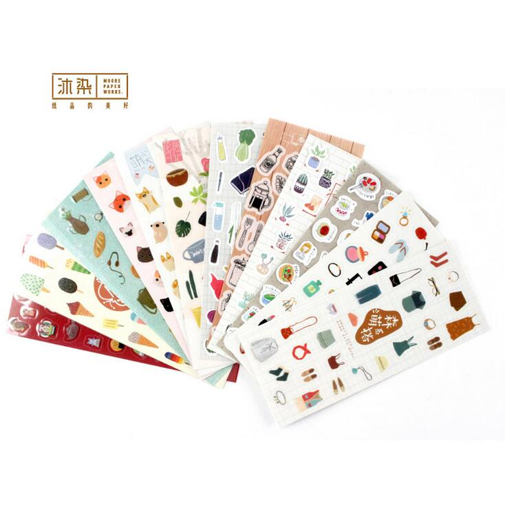 Japanese Style Simple Life  Decorative Washi Stickers Scrapbooking Stick Label Diary Stationery Album Stickers spring and fall leaves shape pvc environmental stickers decorative diy scrapbooking keyboard personal diary stationery stickers