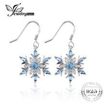 Jewelrypalace 1.4ct genuino topacio azul suizo del copo de nieve cuelga los pendientes 925 pendiente de plata esterlina para las mujeres de joyería de moda