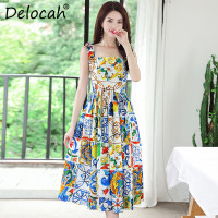 Delocah New Women Summer Dress Runway Fashion Design Spaghetti Strap Floral Print Elegant Party Midi Cotton Dress vestidos