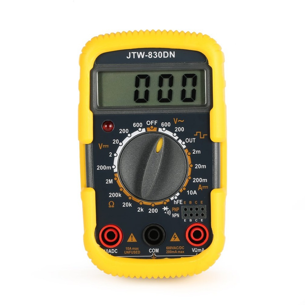 JTW-830DN Handheld Mini Digital Multimeter 1999 Counts AC/DC Volt Amp Ohm Diode hFE Continuity Square Wave Output Tester image