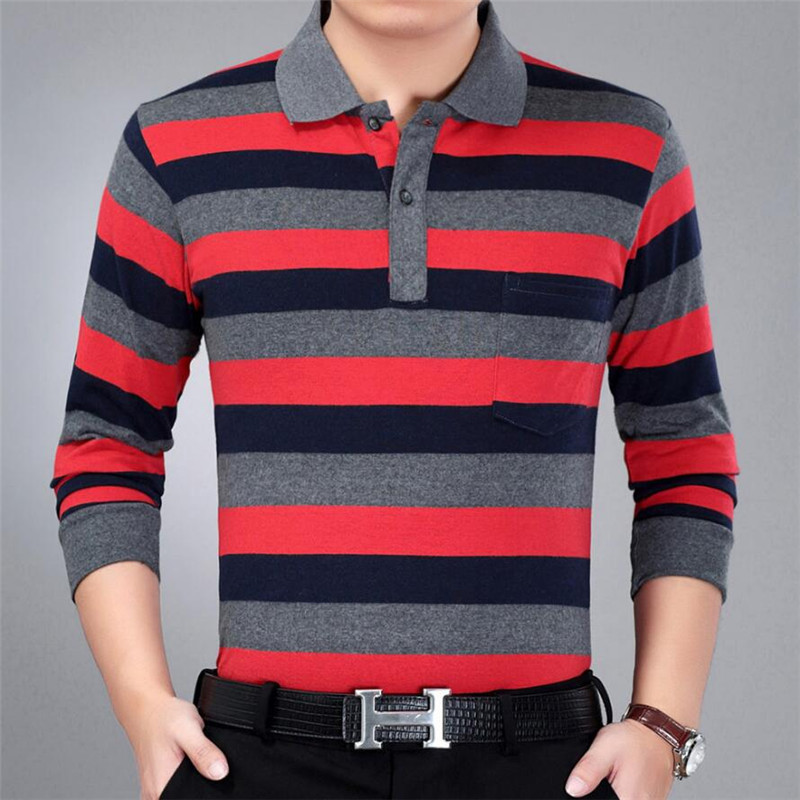 2019 Men Polo Shirt Brand Clothing Pure Cotton Men Business Casual Male Polo Shirt Breathable long sleeves striped polo shirt