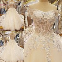 100% Real Picture Champagne Wedding Dress Off Shoulder Sweetheart Ball Gown Sequined Lace Applique Vestidos De Noiva Princesa
