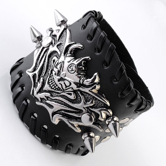 Ayliss 1pc Punk Pu Leather Skull Bracelet Wristband Adjustable Size 65 To 8 Inches Men's Cool Bracelet Jewelry