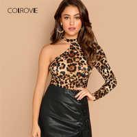 COLROVIE Schulter Leopard Print Cut Out Sexy T-Shirt Frauen Kleidung Herbst Mode Langarm Shirts Damen Tops T