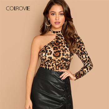 COLROVIE Schulter Leopard Print Cut Out Sexy T-Shirt Frauen Kleidung Herbst Mode Langarm Shirts Damen Tops T