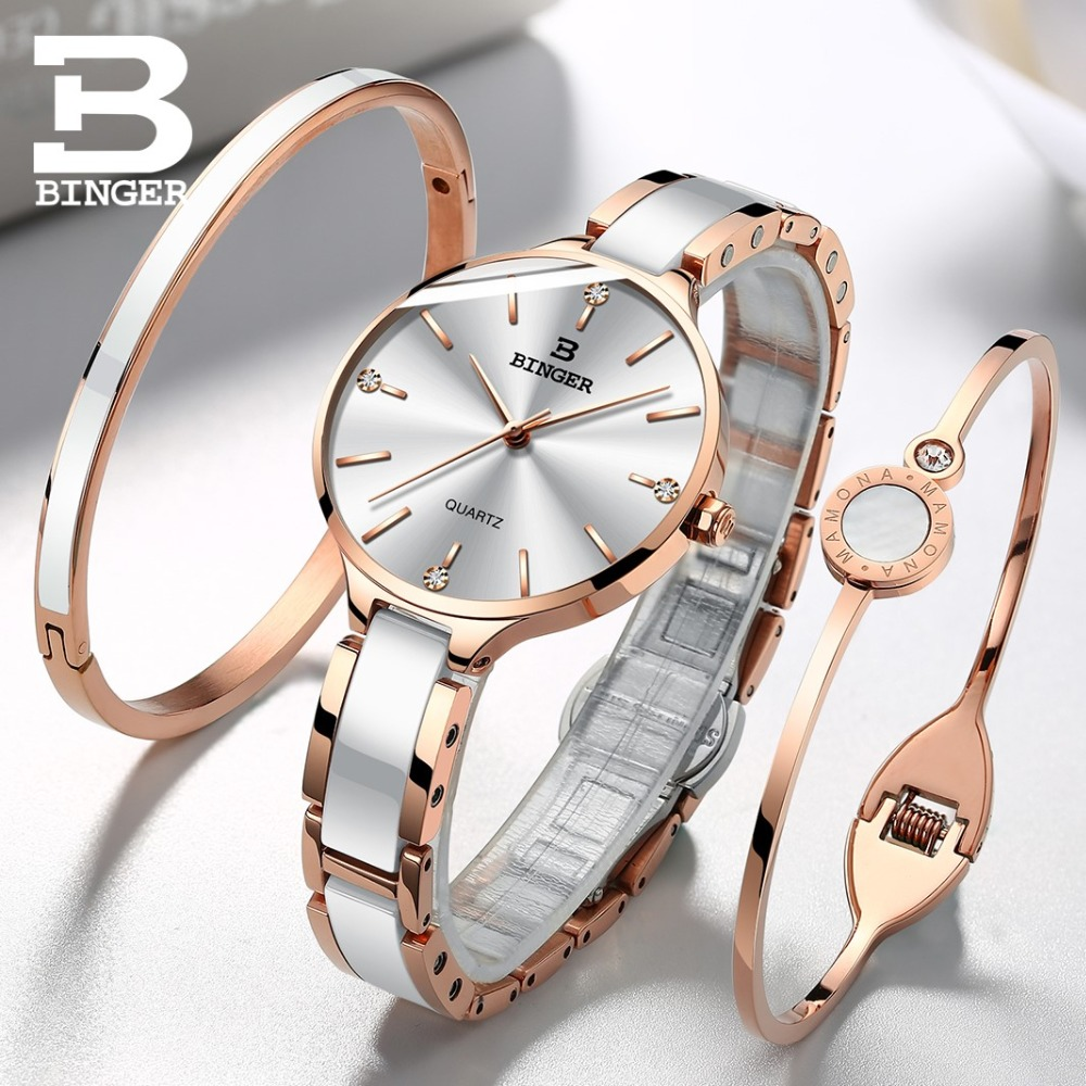 BINGER Ceramic Band Sapphire Luxury Rose gold Watch