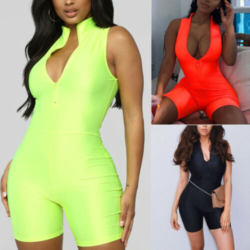 Fitness Sporty Active Wear Sleeveless Playsuit Athleisure Neon Color Women Zipper Biker Bodybuilding   Jumpsuits   2019 Hot