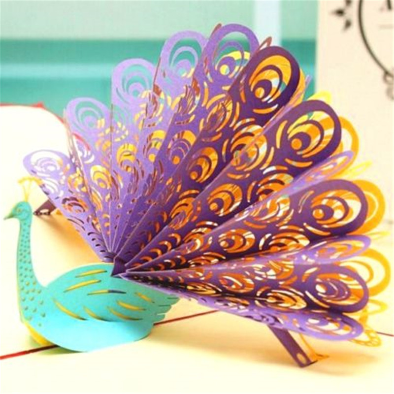 Online Shop FD4172 New Creative 3D Card Peacock Art Design Paper Craft Greeting Gift Cards 1PC