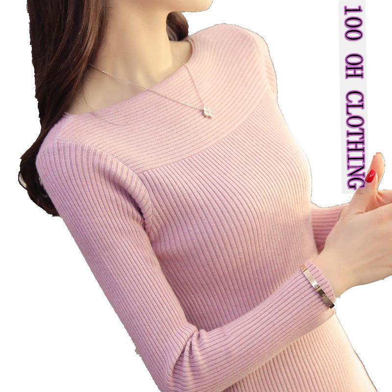 2019 La primavera y el otoño nueva moda delgado suéter del - Ropa de mujer