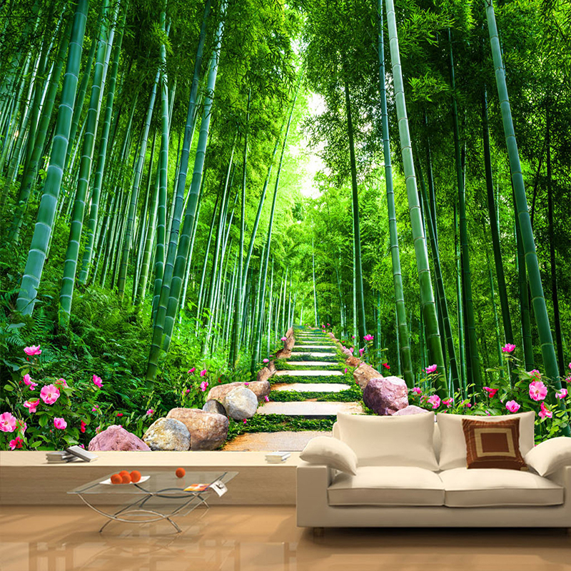 Custom photo wall mural wallpaper bamboo forest stone road for Bamboo wallpaper for walls