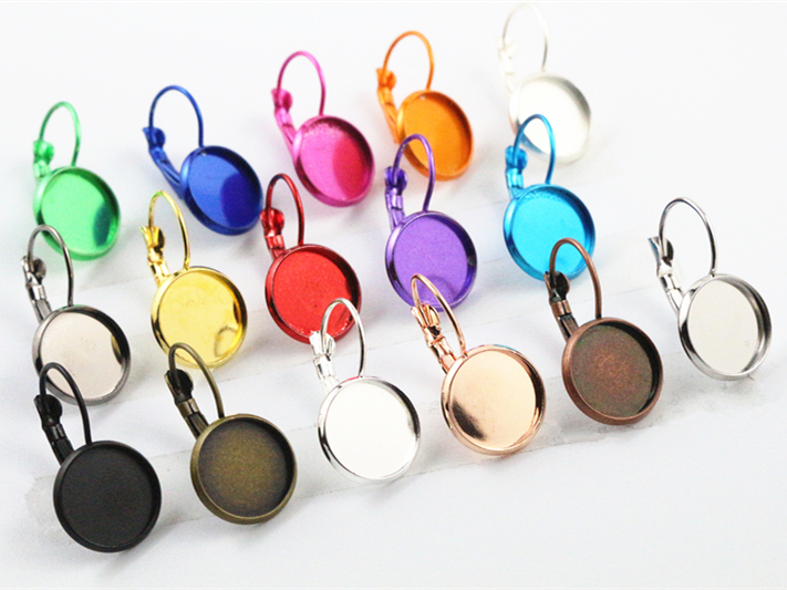 12mm 10pcs/Lot 19 Popular Colors Plated French Lever Back Earrings Blank/Base,Fit 12mm Glass Cabochons,Buttons;Earring Bezels mibrow 10pcs lot stainless steel 8 10 12 14 16 18 20mm blank french lever earring tray cabochon setting cameo base jewelry