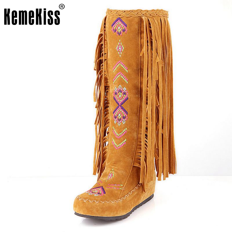 KemeKiss Fashion Chinese Nation Style Flock Leather Women Fringe Flat Heels Long Boots Woman Tassel Knee High Boots Size 34-43 fashion autumn and winter style flock leather women fringe flat heels long boots woman keep warm tassel knee high boots