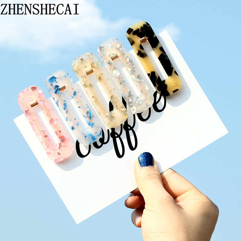 2019 New Women Girl Drop Water Acrylic Hollow rectangular Fashion Hair clips Barrettes Hair Accessories Headband Wholesale