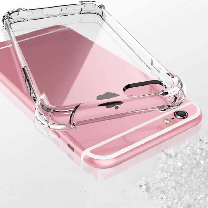 Funda Transparent Antichoc étui en silicone Pour iPhone 11 pro x xs max xr 6 6s 7 8 Plus Étui 360 Clair Protéger Housse Coque