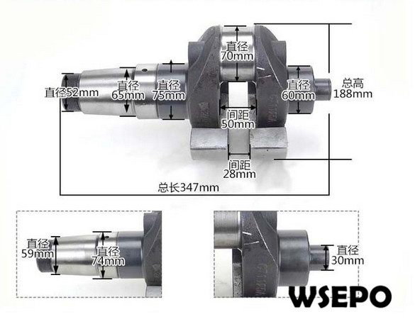 OEM Quality! Crankshaft for CT1125 4 Stroke Single Cylinder Small Water Cooled Diesel Engine bore size 40mm 20mm stroke smc type mgp three shaft cylinder with magnet and slide bearing