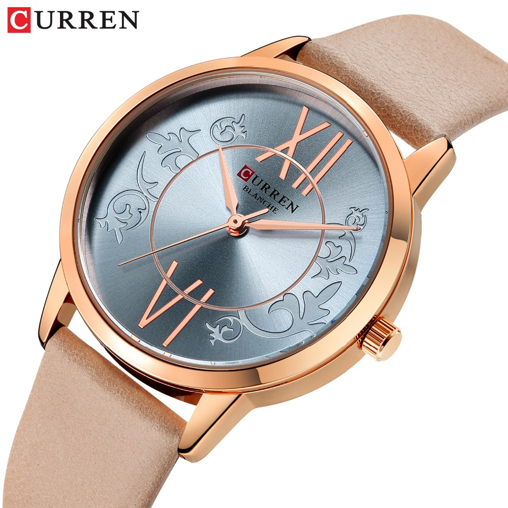 CURREN Luxury Woman Watch 2019 Rose Gold Women's Watch Waterproof Sport Leather Strap Quartz Watches Women Top Luxury Brand(China)