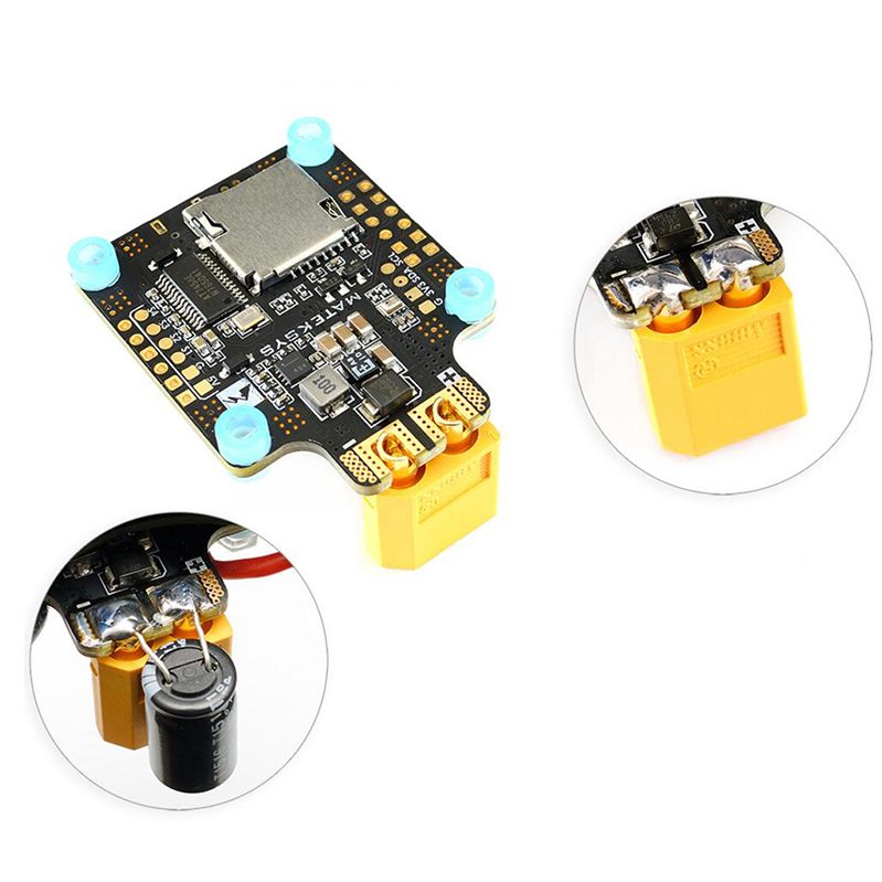 купить 1PC Matek FLIGHT F405-CTR with Distribution Board Built-in PDB OSD 5V/2A BEC Current Sensor for RC Multicopter Drone по цене 3484.87 рублей