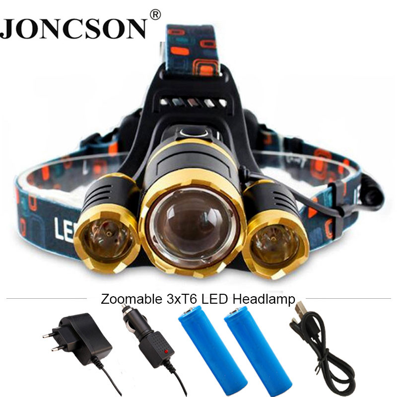 13000LM 3xT6 Headlamp LED Headlight Head Lamp lighting Light Flashlight Torch Lantern Fishing + 18650 Battery+Car USB AC Charger