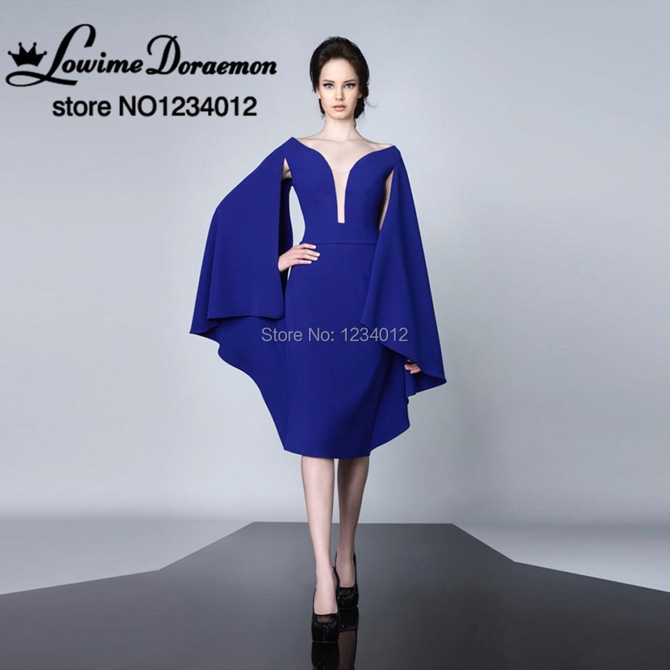Royal Blue Short Prom Dresses Special Design Elegant Bat Sleeves Evening Gowns Ladies Formal Prom Gowns Vestidos de festa Custom