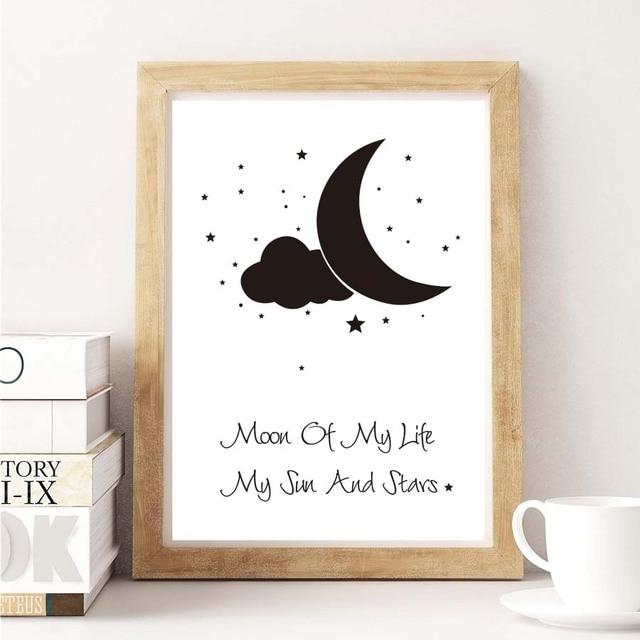 Starry Motivatie Maan Ster Inspirational Quotes Canvas Schilderij Kunst Poster Kwekerij Muur Foto Kids Babykamer Decor In Starry Motivatie Maan Ster
