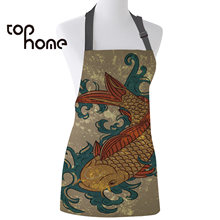 Tophome Kitchen Apron Japan Carp Koi Printed Adjustable Sleeveless Canvas Aprons for Men Women Kids Home Cleaning Tools(China)