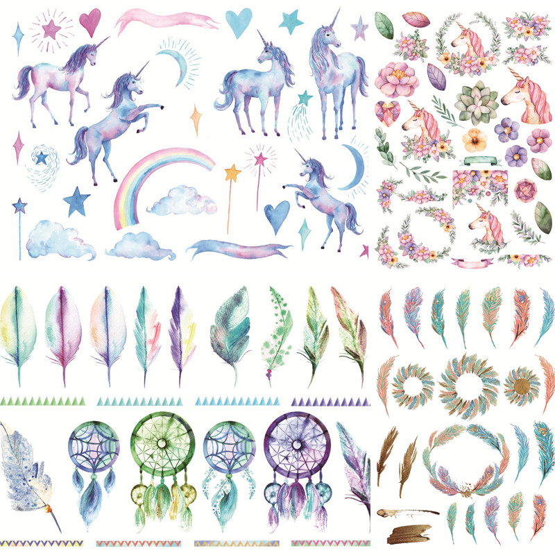 Kawaii Cartoon Unicorn Feather Stickers Cute Colorful Paper Dreamcatcher Diary Scrapbooking Albums sticky DIY Decoration 06471